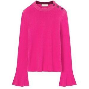 Tory Burch Flawed Liv Pink Bell Sleeve Sweater S